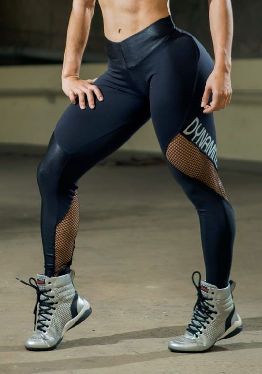 DYNAMITE BRAZIL Leggings L2090 CRYSTAL Black Mesh-Sexy Workout Leggings