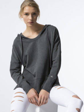 ALO Yoga Long Sleeve Fluid Tunic Hoody Anthricite Heather- Sexy Yoga Top