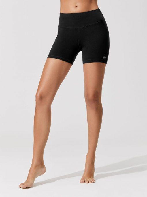 ALO YOGA Burn Shorts Black Black - Sexy Workout Shorts-Booty Shorts