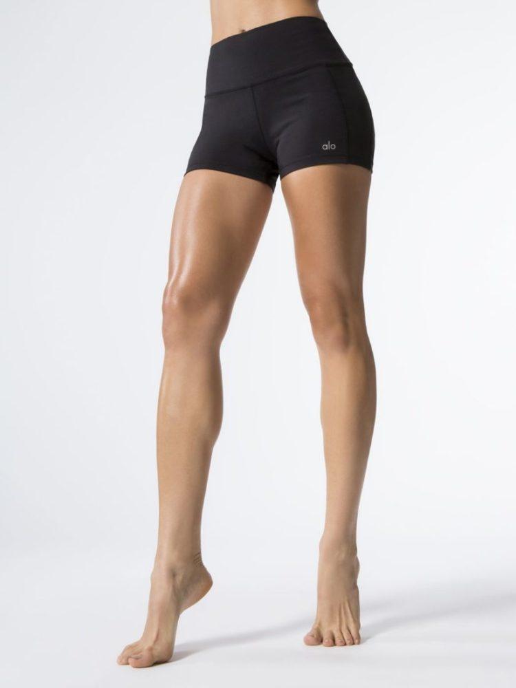 ALO YOGA Elevate Shorts Black Black Glossy - Sexy Workout Shorts-Booty Shorts