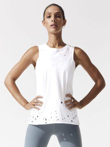 ALO Yoga Distressed Sexy Tank -Sexy Yoga Tops White