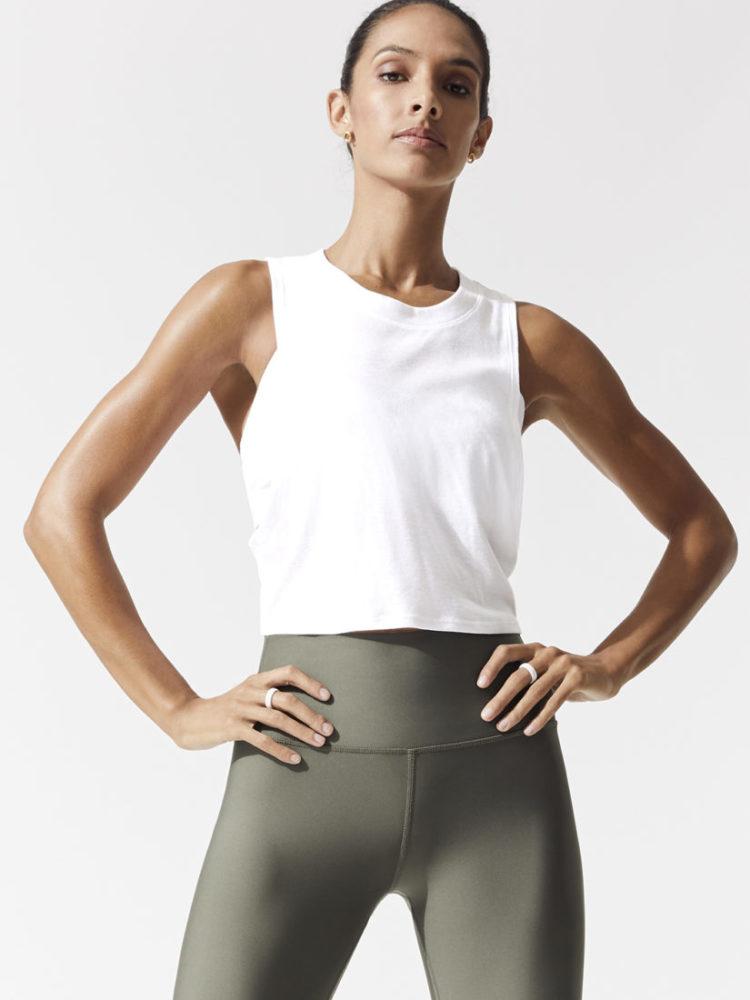 ALO Yoga HEAT WAVE CROP TANK -Sexy Crop Top - Yoga Top White