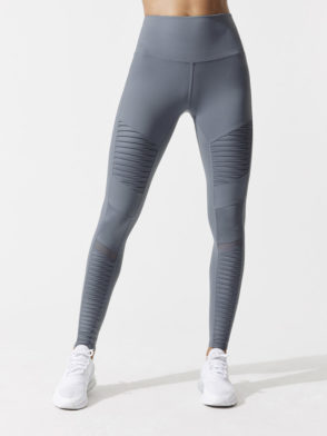 ALO Yoga Sexy Moto Yoga Leggings High Waisted Sexy Pilates Leggings Concrete