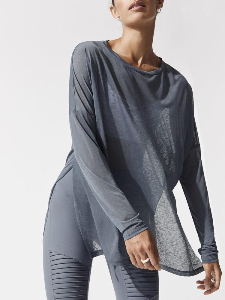 ALO Yoga ARROW Oversized Long Sleeve Tee-Sexy Yoga Tops - Concrete