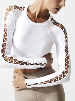 ALO Yoga HIGH LINE LONG SLEEVE TOP-Sexy Yoga Tops White