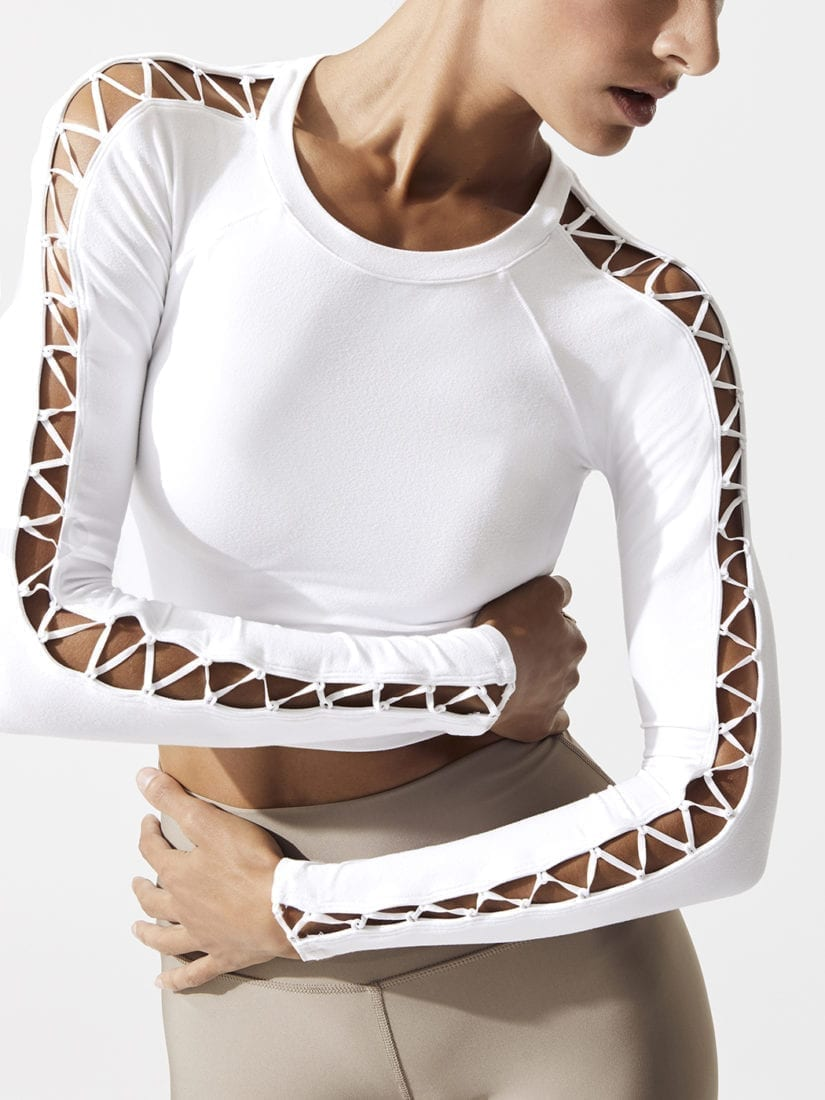 ALO Yoga HIGH LINE LONG SLEEVE TOP-Sexy Yoga Tops White