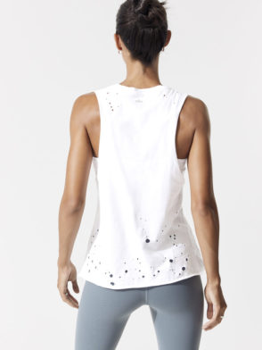 ALO Yoga Distressed Sexy Tank -Sexy Yoga Tops White