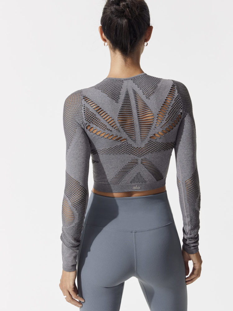 ALO Yoga SIREN LONG SLEEVE Top-Sexy Yoga Tops Concrete Heather