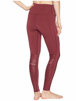 ALO Yoga Sexy Moto Yoga Leggings High Waisted Sexy Pilates Leggings Black Cherry