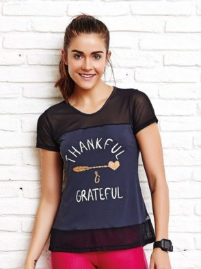 CAJUBRASIL Top 8148 Thankful - Sexy T-Shirt - Sexy Yoga Top Black