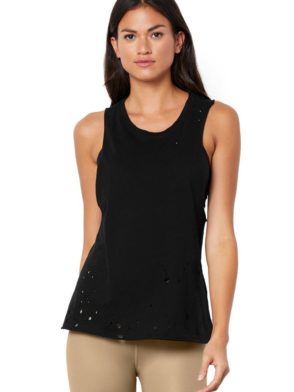 ALO Yoga Distressed Sexy Tank -Sexy Yoga Tops Black