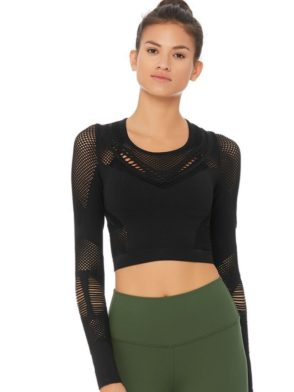 ALO Yoga SIREN LONG SLEEVE Top-Sexy Yoga Tops Black