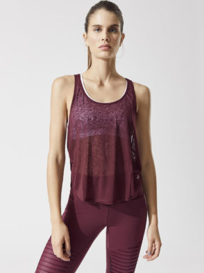 ALO Yoga Arrow Tank – Sexy Yoga Top- Black Cherry
