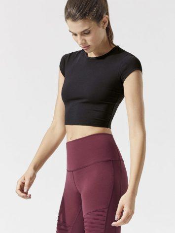 ALO Yoga Choice Short Sleeve Top – Sexy Yoga Tops Black