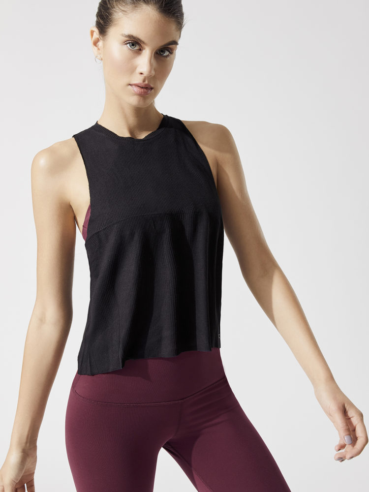 ALO Yoga Flow Tank Thermal- Sexy Yoga Top- Black