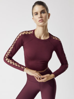 ALO Yoga HIGH LINE LONG SLEEVE TOP-Sexy Yoga Tops Black Cherry