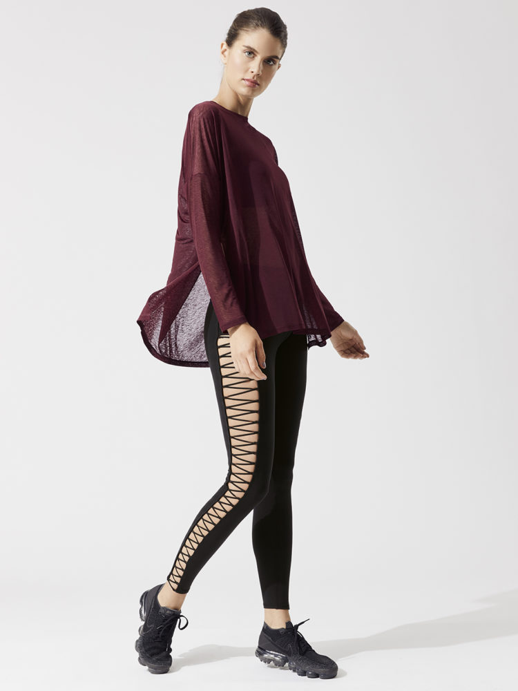 ALO Yoga ARROW Oversized Long Sleeve Tee-Sexy Yoga Tops - Black Cherry