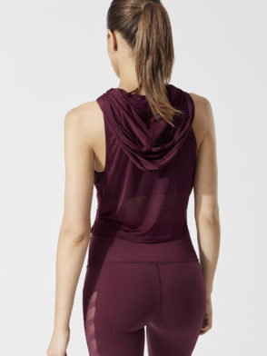 ALO Yoga The Arrow Tank Hoodie- Sexy Yoga Top- Black Cherry