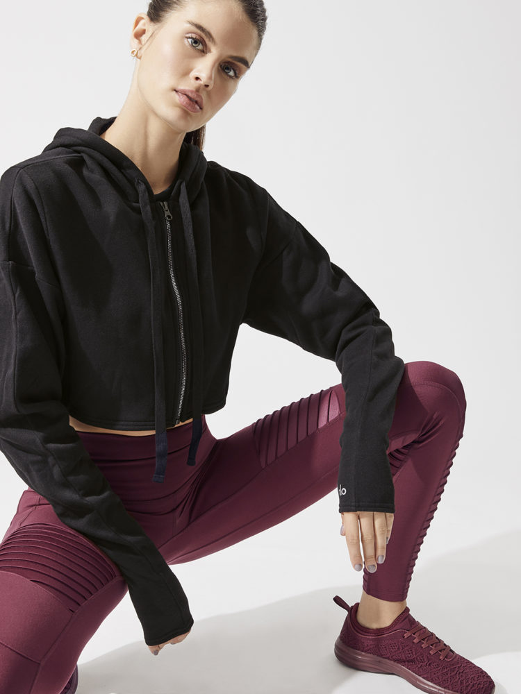 ALO Yoga Extreme Crop Jacket - Long Sleeve Top-Sexy Yoga Tops Black