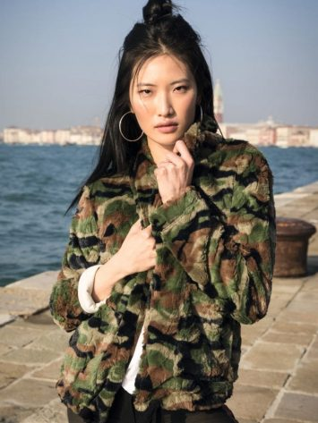 FREDDY WR.UP Millenials Jacket in Camouflage Faux Fur – F8WMLJ1