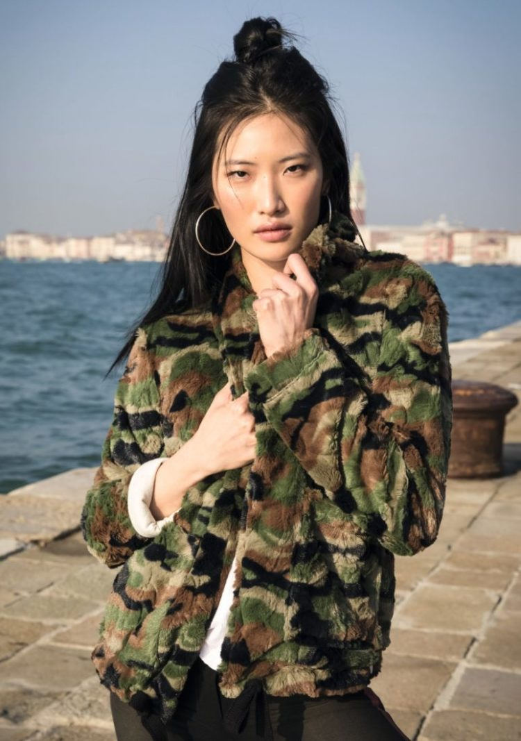 FREDDY WR.UP Millenials Jacket in Camouflage Faux Fur - F8WMLJ1