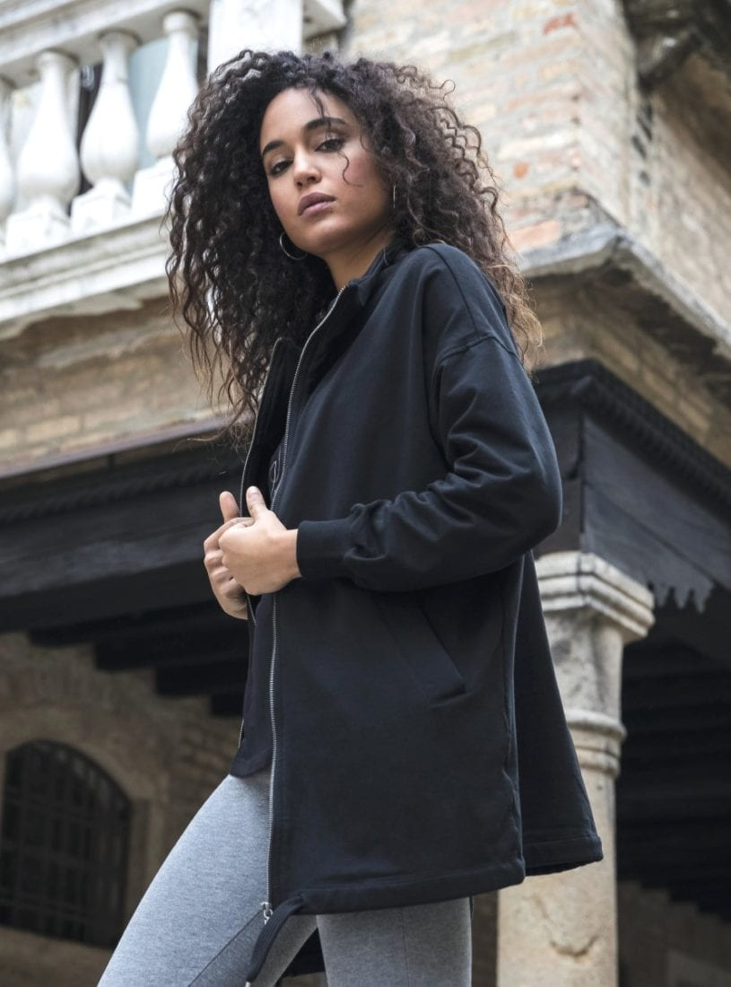 FREDDY WR.UP Slounge oversize sweatshirt with zip and drawstring hem - F8WBHS1 black