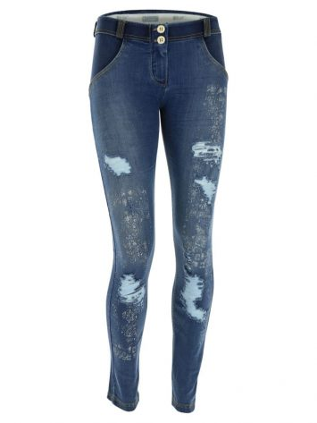 FREDDY WR.UP Reg Rise Skinny-fit trousers distressed denim w/Paisley Print -WRUP1RF803