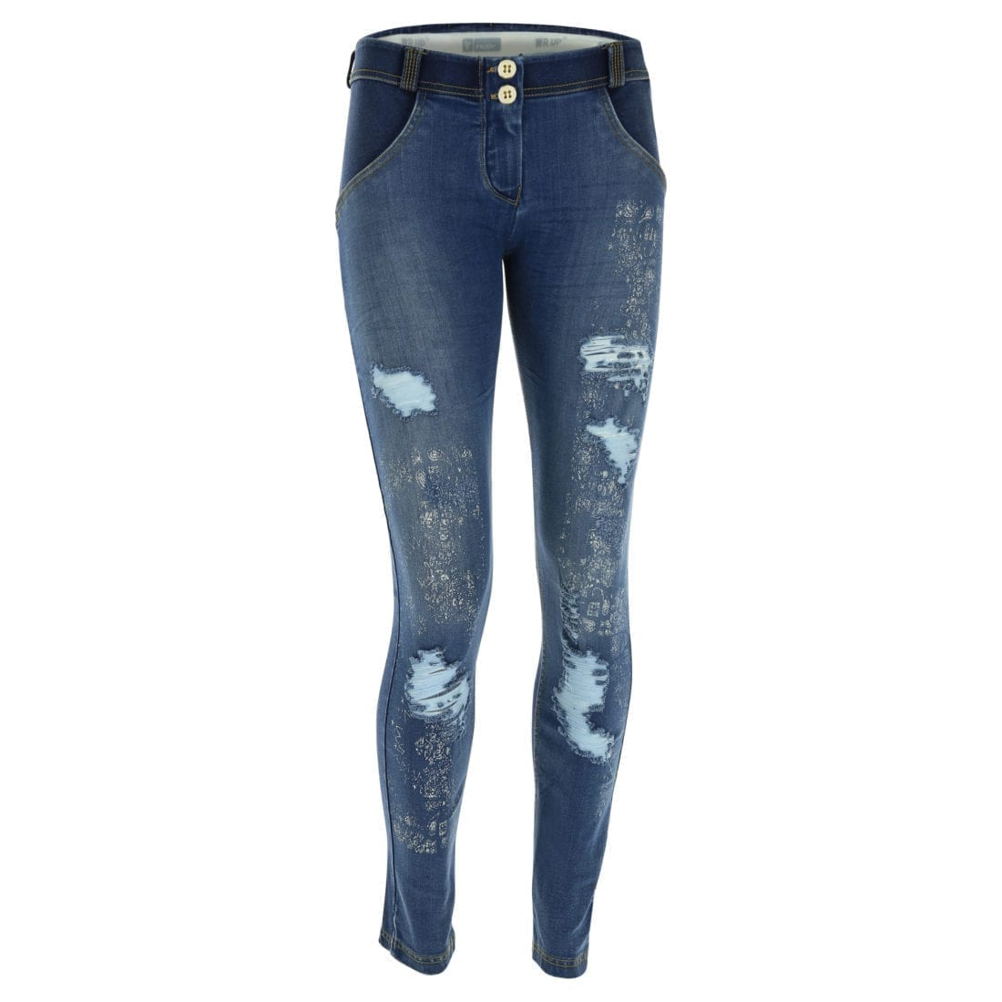 FREDDY WR.UP Reg Rise Skinny-fit trousers distressed denim w/Paisley Print -WRUP1RF803