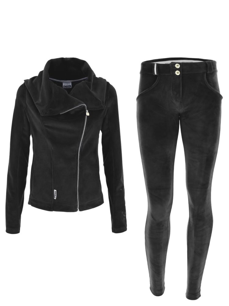 FREDDY WR.UP Chenille Tracksuit with leather Jacket-style top & bottom - black - S9WTRK5