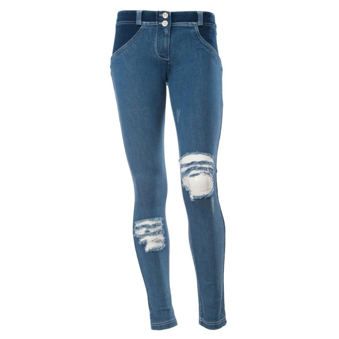 FREDDY WR.UP Shaping Effect Low waist-Skinny Denim Jersey true distressed denim front -WRUP1GLJ4E