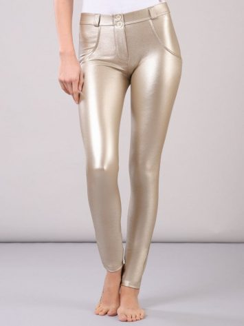 FREDDY WR.UP Faux Leather – Mid Rise Full Length – Metallic Gold