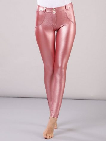 FREDDY WR.UP Faux Leather – Mid Rise- Full Length – Metallic Pink