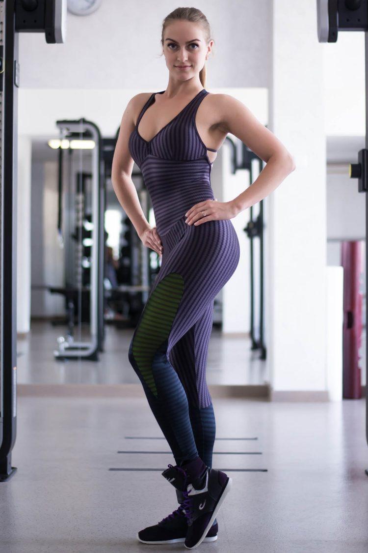 CAJUBRASIL 6937 Sexy Workout One-Piece Jumpsuit Sportswear Purple