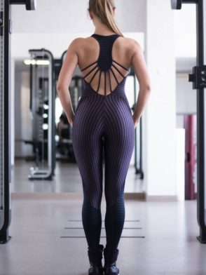 CAJUBRASIL 6937 Sexy Workout One-Piece Jumpsuit Sportswear Purple