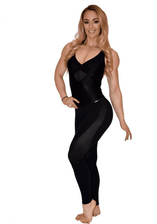CAJUBRASIL Jumpsuit 7575 Urban Sexy Workout Romper One Piece Black