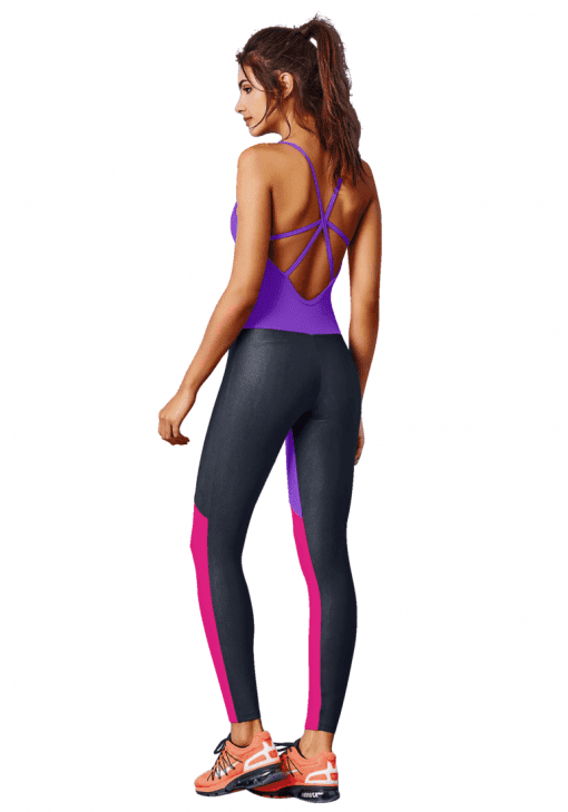 CAJUBRASIL Jumpsuit 7576 Sexy Workout Romper One Piece Graphic Purple