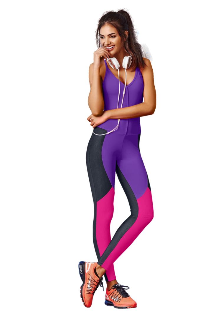 CAJUBRASIL Jumpsuit 7576 Sexy Workout Romper One Piece Graphic Purple