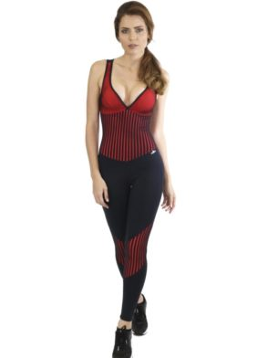 CAJUBRASIL Jumpsuit 8153 Start Black Crimson Sexy Workout  Romper One Piece