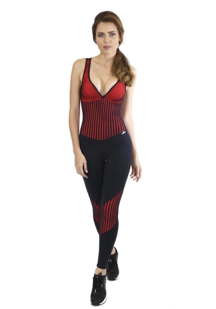 CAJUBRASIL Jumpsuit 8153 Start Black Crimson Sexy Workout Romper One Piece