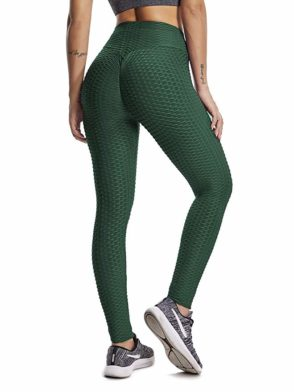 Scrunchy Leggings HoneyComb – High-Waist Anti-Cellulite – Green BFB