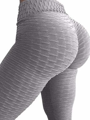 Scrunchy Leggings HoneyComb – High-Waist Anti-Cellulite – Gray BFB