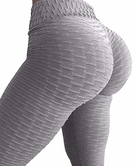 5b7677f6f40b0 Scrunchy Leggings HoneyComb – High-Waist Anti-Cellulite – Gray BFB