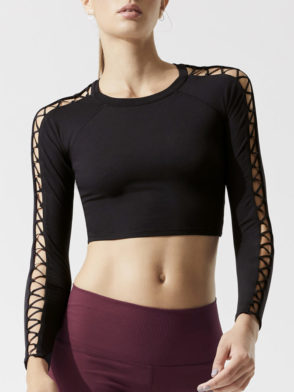 ALO Yoga High Line Fitted Top (black)