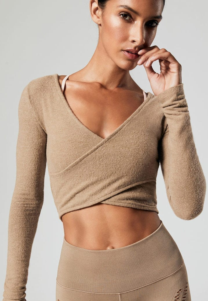 8b18bfcc287 ALO Yoga Amelia Luxe Long Sleeve Crop (gravel) - Sexy Workout ...