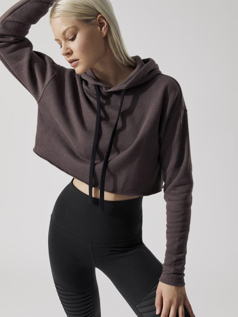 3f4b830733b42 ALO Yoga Cropped Hoodie (Raisin) - Sexy Workout Clothes - Alo Yoga ...