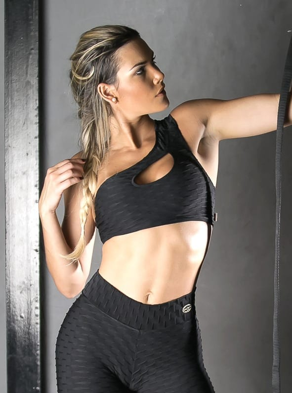 Sports Bra Top shoulder unilateral - (Black)