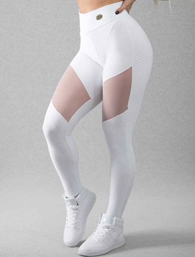 BFB Leggings - Honeycomb Jacquard Tulle (white)