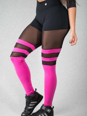 Striped Leggings Breathable Socks Tulle (Pink & Black)