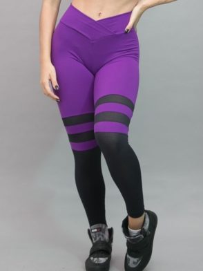 Striped Leggings Breathable Socks (Purple)