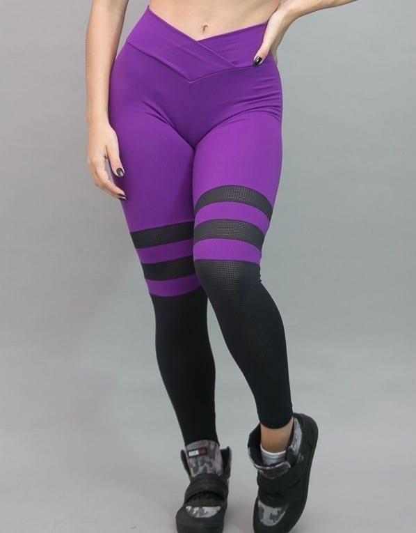 Striped Leggings Breathable Socks (Purple)